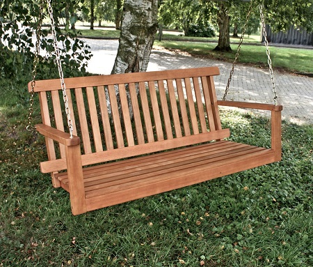 banco colgante madera eucalipto exterior